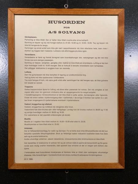 Husordensreglene anno 1968